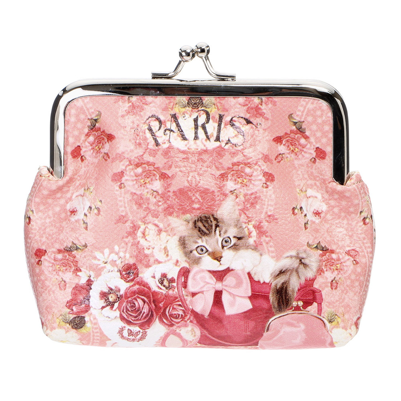 Japan Elegant Pink Flower With Kitten Pouch Ball Clasp Purse Coin