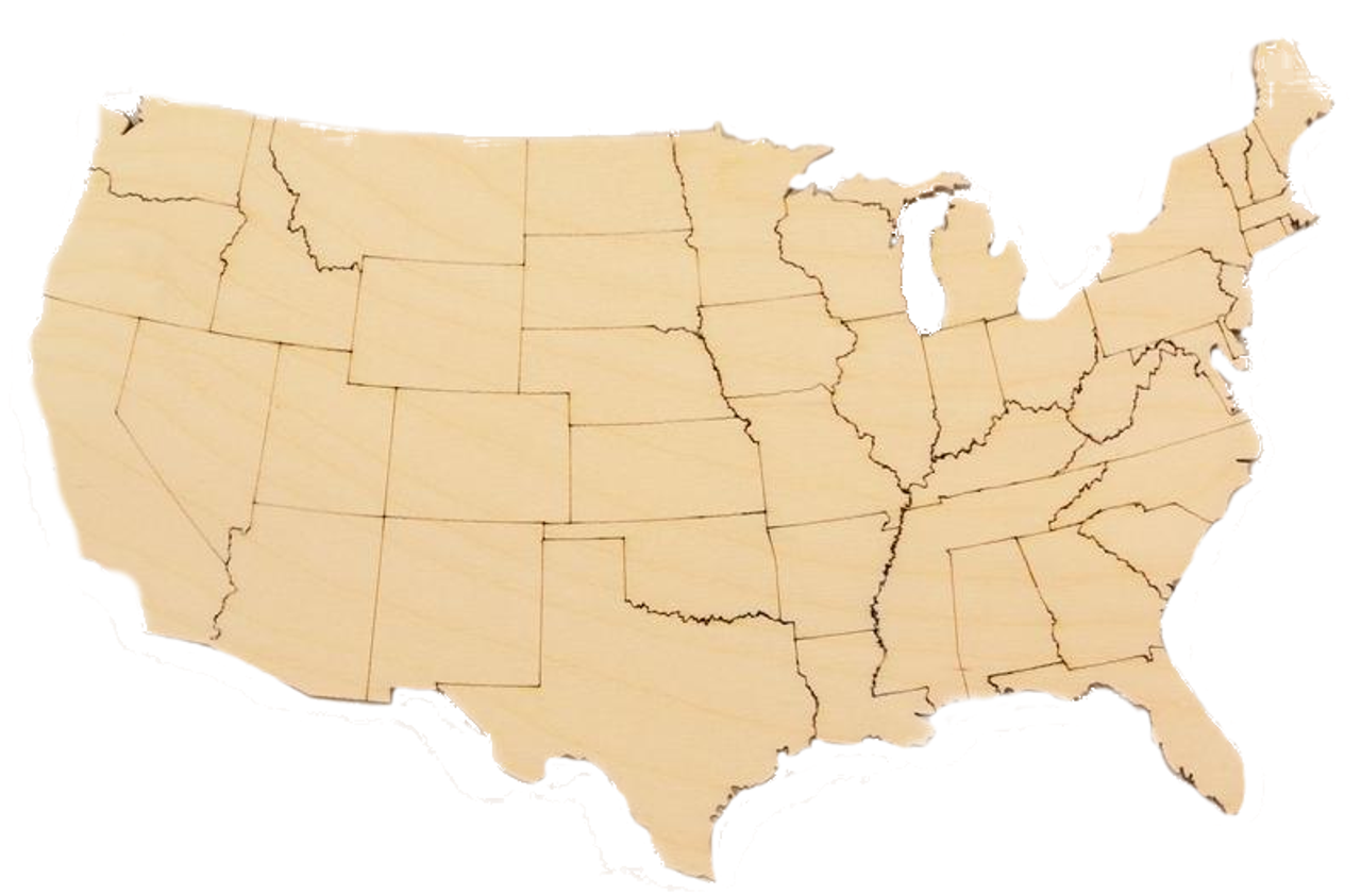 United States Map Wood Cutout with States Highlighted