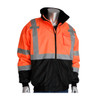 ANSI CLASS 3 SAFETY BOMBER JACKET BLACK BOTTOM, ZIP OUT FLEECE