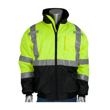ANSI CLASS 3 SAFETY BOMBER JACKET BLACK BOTTOM