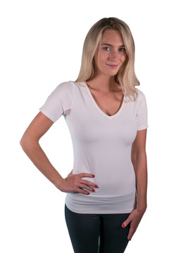 Charlotte Basics Collection Short Sleeve V-Neck White with WhiteTrim