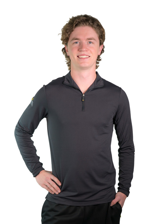 Henrik Men's UV Long Sleeve Shirt Black with Black Trim