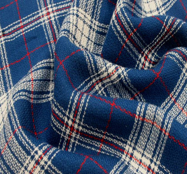 Rayon Yarn Dyed Plaid 1D993 Royal White Red