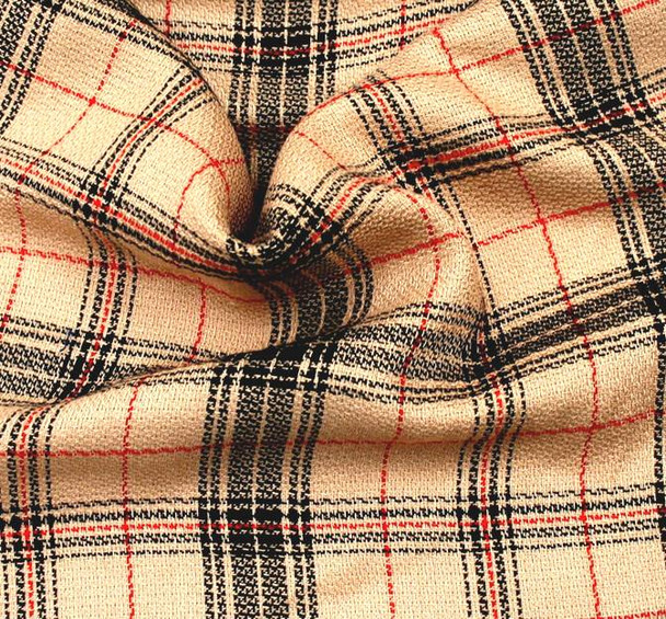 Plaid 1D993 Taupe Black Red