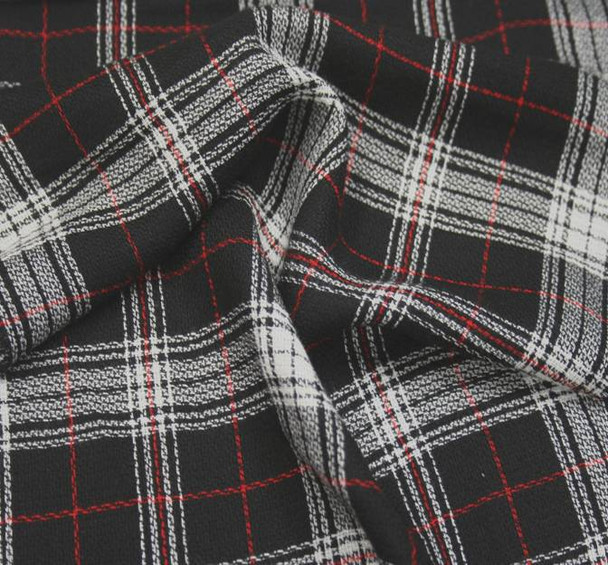 Rayon Yarn Dyed Plaid 1D993 Black White Red