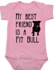 Babies Best Friend Love-a-bull Bodysuit personalized dog lover Bodysuit unique baby shower gift personalized baby birthday gift cute pit bull baby clothes badass baby clothes punk rock baby badass dog Bodysuit pink
