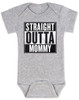 straight outta mommy baby Bodysuit, nwa baby onsie, classic hip hop music, Straight Outta Compton, gangster rap, grey