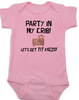Party in my crib baby onesie, Let's get tit-faced baby onsie, byob, baby party animal, pink