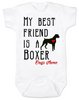 My Best Friend is a Boxer Baby Onesie, Boxer Puppy Love Onsie, Babies Best Friend, Fur Babies best friend, Love my doggy, personalized dog lover onesie, unique baby shower gift, personalized baby birthday gift, cute I love my dog baby clothes, badass dog onesie, Rescue dog, Personalized with custom name