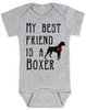 My Best Friend is a Boxer Baby Onesie, Boxer Puppy Love Onsie, Babies Best Friend, Fur Babies best friend, Love my doggy, personalized dog lover onesie, unique baby shower gift, personalized baby birthday gift, cute I love my dog baby clothes, badass dog onesie, Rescue dog, grey