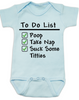To Do List baby onesie, funny breast feeding baby onsie, blue