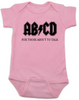 ABCD, For those about to talk, AC/DC baby onesie, for those about to rock, classic rock baby onsie, band onesie, pink