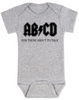 ABCD, For those about to talk, AC/DC baby onesie, for those about to rock, classic rock baby onsie, band onesie, grey