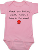 Watch your fucking mouth there is a baby in the room, funny offensive baby onesie, no cussing around baby, Pink