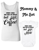 Funny Mommy & Me Gift Set, Mommy and Me matching set, But First Milk onesie, but first coffee ladies tank top, coffee mom gift, today I shall take over the world, but first coffee, but first milk, coffee lover mom shirt with matching baby onesie