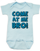Come at me bro baby onesie, funny tough baby onesie, come at me bro, blue