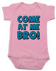Come at me bro baby onesie, funny tough baby onesie, come at me bro, pink