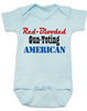 Red-blooded Gun-toting American, funny redneck baby gift, proud american baby bodysuit, red-blooded american baby onesie, funny Gun toting baby onsie, patriotic baby gift, baby gift for gun lovers, blue