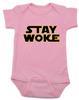 Stay Woke Star Wars Logo baby Bodysuit, Pink