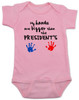 My hands are bigger than the president's, Donald Trump baby Bodysuit, tiny hands baby onsie, funny trump baby gift, trump hands baby bodysuit, pink