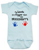 My hands are bigger than the president's, Donald Trump baby Bodysuit, tiny hands baby onsie, funny trump baby gift, trump hands baby bodysuit, blue
