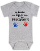 My hands are bigger than the president's, Donald Trump baby Bodysuit, tiny hands baby onsie, funny trump baby gift, trump hands baby bodysuit, grey