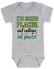 I'm going places baby onesie, not going to college baby onsie, funny college baby onesie, funny baby gift for new parents, funny baby shower gift, you're going places not college but places, grey