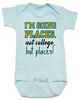 I'm going places baby onesie, not going to college baby onsie, funny college baby onesie, funny baby gift for new parents, funny baby shower gift, you're going places not college but places, blue