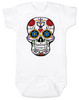 Dia de los Muertos baby Bodysuit, colorful sugar skull Bodysuit, Day of the dead baby Bodysuit, Halloween baby Bodysuit, white