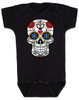 Dia de los Muertos baby Bodysuit, colorful sugar skull Bodysuit, Day of the dead baby Bodysuit, Halloween baby Bodysuit, black