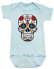 Dia de los Muertos baby Bodysuit, colorful sugar skull Bodysuit, Day of the dead baby Bodysuit, Halloween baby Bodysuit, blue