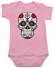 Dia de los Muertos baby Bodysuit, colorful sugar skull Bodysuit, Day of the dead baby Bodysuit, Halloween baby Bodysuit, pink
