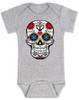 Dia de los Muertos baby Bodysuit, colorful sugar skull Bodysuit, Day of the dead baby Bodysuit, Halloween baby Bodysuit, grey