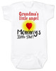 Mommy's little shit, grandma's little angel baby onesie, Little shit baby onsie, funny grandparent baby onesie, funny personalized grand baby gift, mimi's little angel, paw paws little angel, daddy's little shit, white