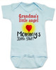 Mommy's little shit, grandma's little angel baby onesie, Little shit baby onsie, funny grandparent baby onesie, funny personalized grand baby gift, mimi's little angel, paw paws little angel, daddy's little shit, blue
