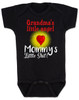 Mommy's little shit, grandma's little angel baby onesie, Little shit baby onsie, funny grandparent baby onesie, funny personalized grand baby gift, mimi's little angel, paw paws little angel, daddy's little shit, black