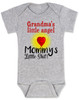 Mommy's little shit, grandma's little angel baby onesie, Little shit baby onsie, funny grandparent baby onesie, funny personalized grand baby gift, mimi's little angel, paw paws little angel, daddy's little shit, grey