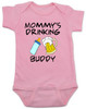 Mommy's drinking buddy, Drinking buddies Mother and child, Mom's drinking buddy baby Bodysuit, beer and baby bottle, Mom's best friend, drinking with mommy, Mommy drinking buddy baby onsie, baby gift for beer drinking parents, funny beer baby Bodysuit, pink