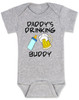 Daddy's drinking buddy, Drinking buddies father and child, Dad's drinking buddy baby Bodysuit, beer and baby bottle, Dad's best friend, drinking with daddy, daddy drinking buddy baby onsie, baby gift for beer drinking parents, funny beer baby Bodysuit, grey