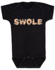Swole baby Bodysuit, muscle baby Bodysuit, i work out baby Bodysuit, do you even lift, SWOLE infant bodysuit, strong like daddy, strong like mommy, baby gift for fit parents, funny work out baby, muscular baby, weight lifting baby gift, black