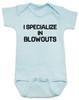 blowout specialist baby bodysuit, i specialize in blowouts, stylist baby gift, hair stylist baby, funny hair baby bodysuit, poop joke baby bodysuit, diaper blowout baby, future hair stylist baby, blue