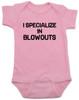 blowout specialist baby bodysuit, i specialize in blowouts, stylist baby gift, hair stylist baby, funny hair baby bodysuit, poop joke baby bodysuit, diaper blowout baby, future hair stylist baby, pink