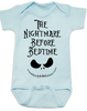 Nightmare before bedtime baby onesie, funny christmas baby clothes, nightmare before christmas, jack the pumpkin king, blue