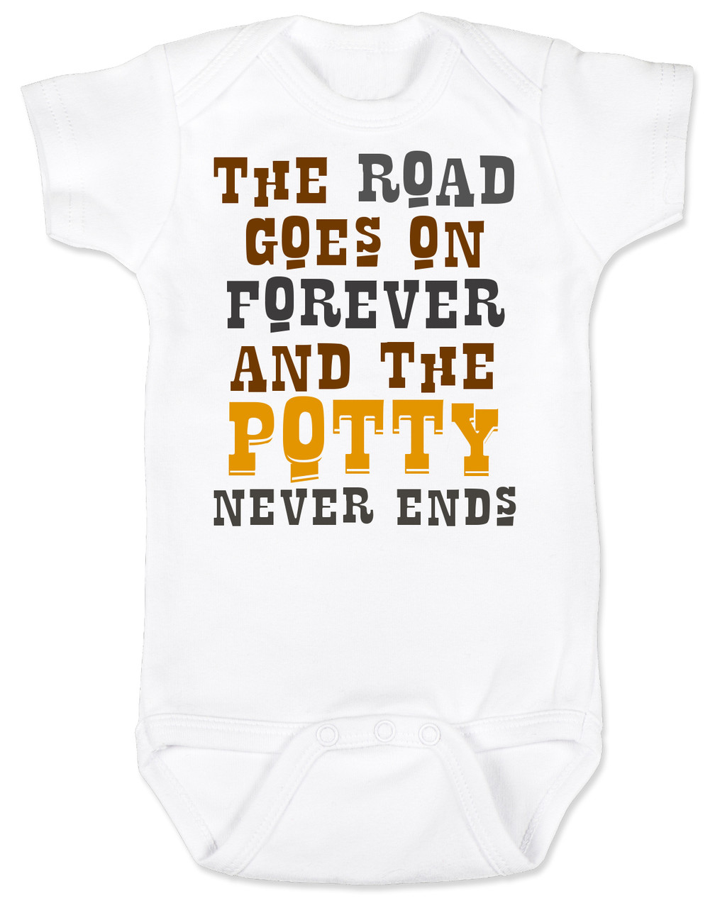 The road goes on forever baby onesie the road goes on forever and the potty never ends texas country music baby negle Gallery