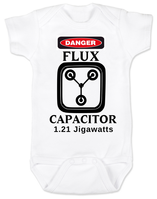 flux capacitor back to the future baby onesie
