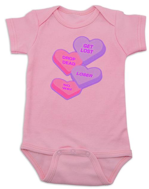 Rude Candy Hearts Baby Onesie