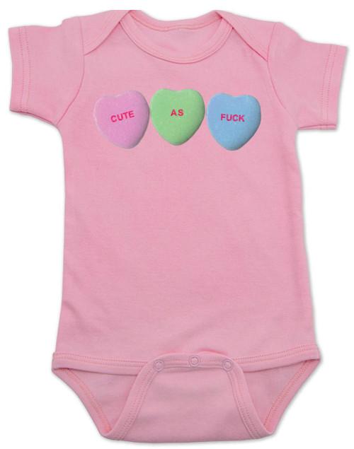 Cute as F baby onesie, Funny Candy Hearts Onesie, Valentines Day baby bodysuit, Valentine's Day hearts, Baby valentine creeper, Offensive candy heart baby onsie, pink