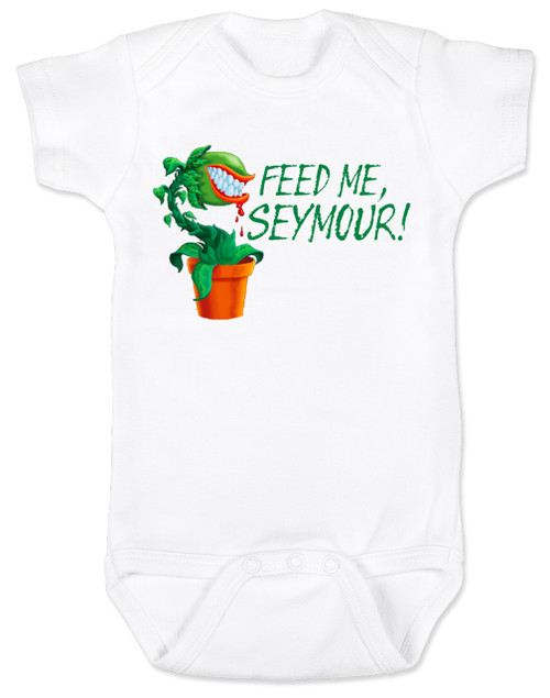 Feed Me Seymour baby onesie, Little Shop of Horrors, Funny movie baby onesie, classic movie infant bodysuit, Audrey plant, Venus fly trap, rick moranis, hangry baby, hungry baby onsie