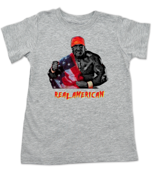 Real American toddler shirt, Hulk Hogan toddler t-shirt, American Pride, Hulk, Hogan, wrestling, wwf, wcw, hulkamania, patriotic kid clothes, 4th of july toddler shirt, memorial day toddler shirt, veterans day toddler shirt, cheesy baby shower or birthday gift, red white and blue kid, America kid, grey
