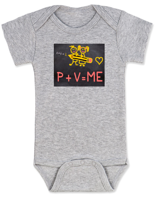 funny chalkboard baby onesie, P + V = ME, penis + vagina = babies, funny offensive baby onesie, grey